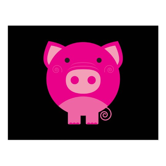 Cute Round Pig Cartoon Postcard