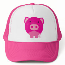 Cute Round Pig Cartoon Trucker Hat