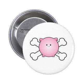cute round pink piggy crossbones design pin