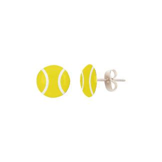 Cute round yellow tennis ball stud earrings