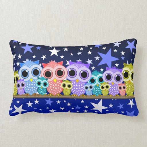 cute row of owls throw pillow