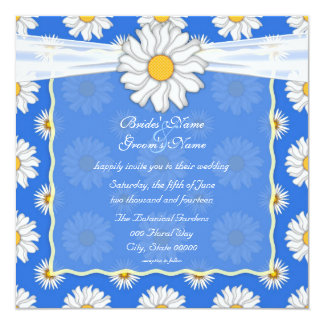 Cute Royal Blue and White Daisy Floral Square Card