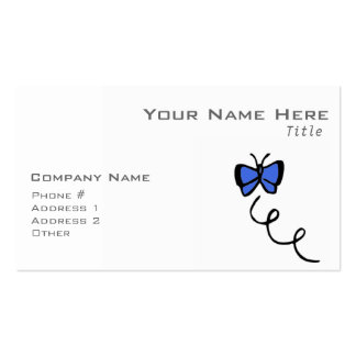 Cute Royal Blue Butterfly Business Card Template