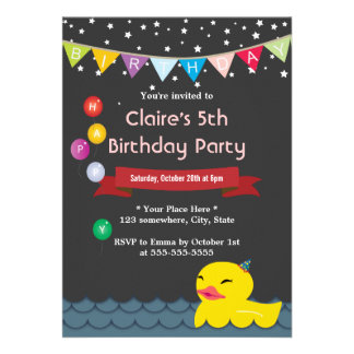 Cute Rubber Duck Starry Night Birthday Invitations