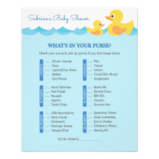 Cute Rubber Duck Theme Baby Shower Game Flyer