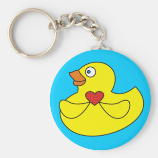 Cute Rubber Duck with a Heart  Keychains