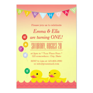 Cute Rubber Ducks Twin Girls Birthday Party 5x7 Paper Invitation Card