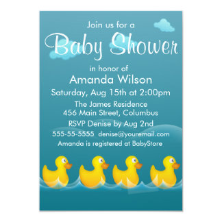 Cute Rubber Ducky Baby Shower 5x7 Paper Invitation Card