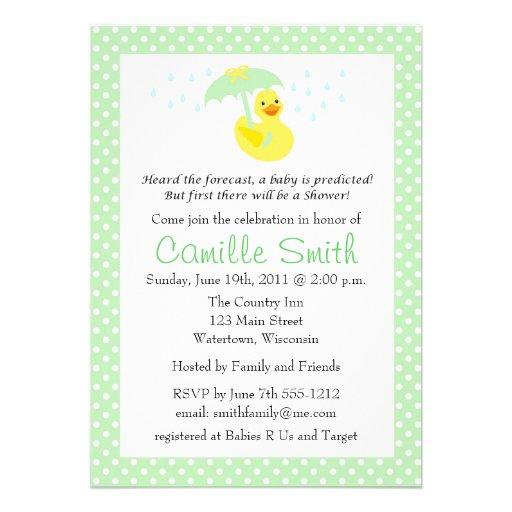 Cute Rubber Ducky Baby Shower Invitation