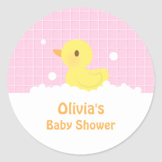 Cute Rubber Ducky Baby Shower Party Decor Classic Round Sticker