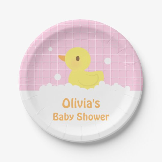 Baby Shower Plate: Cute Rubber Ducky Baby Shower Party Supplies Paper Plate