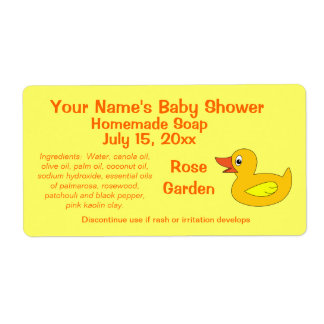 Cute Rubber Ducky Baby Shower Soap Labels Template
