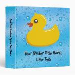 Cute Rubber Ducky/Blue Bubbles 3 Ring Binders