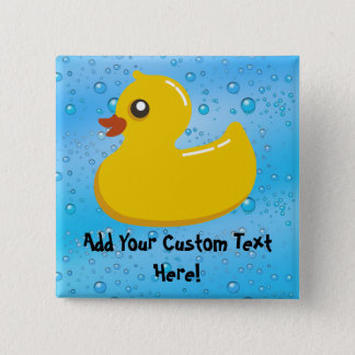 Cute Rubber Ducky/Blue Bubbles Button