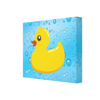 Cute Rubber Ducky/Blue Bubbles Stretched Canvas Print