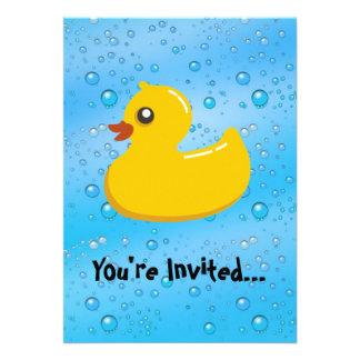 Cute Rubber Ducky Blue Bubbles Custom Invitations