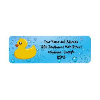 Cute Rubber Ducky Blue Bubbles Custom Return Address Label