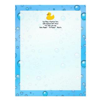 Cute Rubber Ducky/Blue Bubbles Letterhead Template