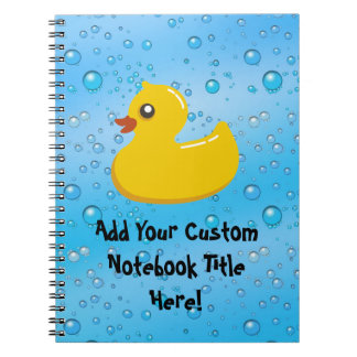 Cute Rubber Ducky/Blue Bubbles Notebook