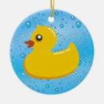 Cute Rubber Ducky/Blue Bubbles Ornament