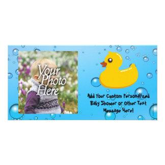 Cute Rubber Ducky/Blue Bubbles Customized Photo Card