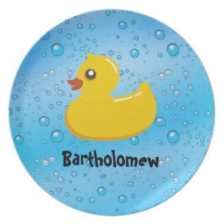 Cute Rubber Ducky/Blue Bubbles Plate