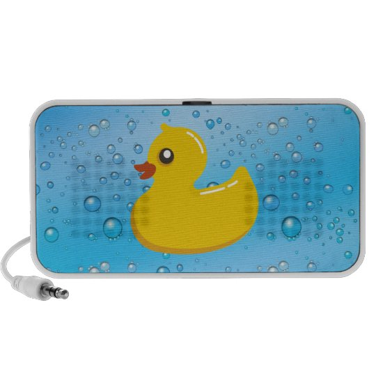 Cute Rubber Ducky/Blue Bubbles Portable Speaker