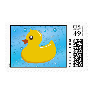 Cute Rubber Ducky/Blue Bubbles Postage