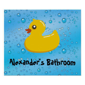Cute Rubber Ducky/Blue Bubbles Poster