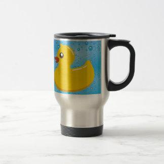 Cute Rubber Ducky/Blue Bubbles Travel Mug