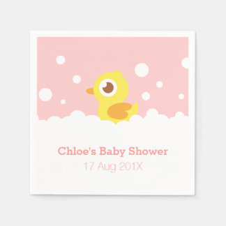 Cute Rubber Ducky, Girl Baby Shower Paper Napkin