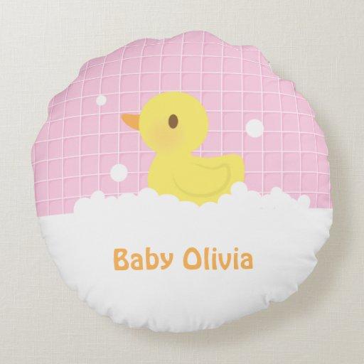 Cute Bath Pillow : Cute Rubber Ducky in Bath Nursery Decor Round Pillow Zazzle