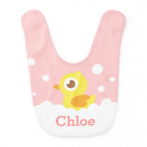 Cute Rubber Ducky in Bubble Bath for Baby Girl Bib