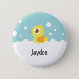 Cute Rubber Ducky in Bubble Bath Kids Name Button