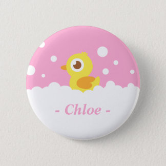Cute Rubber Ducky in Bubble Bath Pinback Button