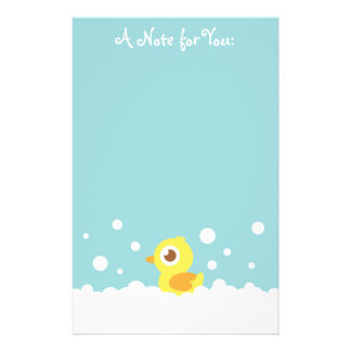 Cute Rubber Ducky in Bubble Bath Personalized Stationery