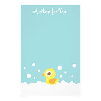Cute Rubber Ducky in Bubble Bath Stationery