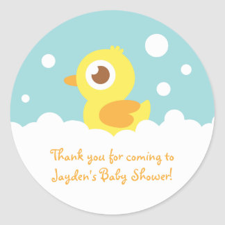 Cute Rubber Ducky in Bubble Bath Stickers