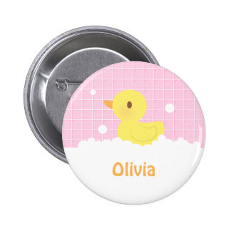 Cute Rubber Ducky in Shower For Girls Button