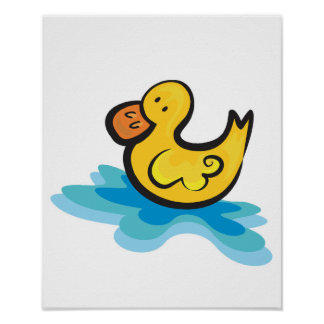 cute rubber ducky in tub poster