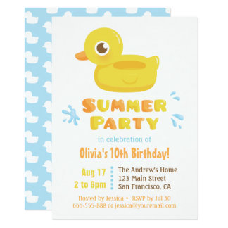 Cute Rubber Ducky Pool Float Summer Birthday Party Card