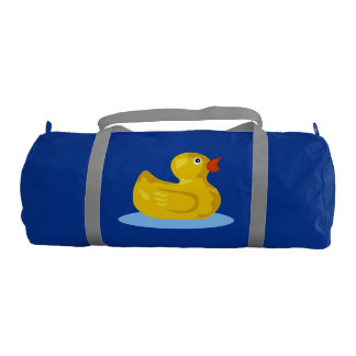 Cute Rubber Ducky Swimming on Blue Pond Water Gym Duffel Bag