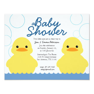 cute rubber ducky TWIN BABY SHOWER invitation