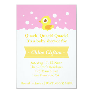Cute Rubber Ducky with Bubbles Baby Shower Party 5x7 Paper Invitation Card