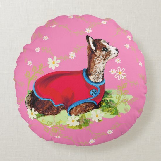 Cute Ruby Alpaca Birthday Round Pillow