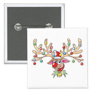 Cute Rudolf Reindeer with Christmas Lights Buttons