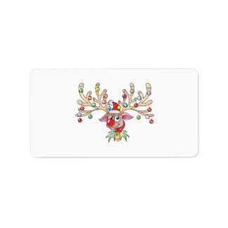 Cute Rudolf Reindeer with Christmas Lights Buttons Label