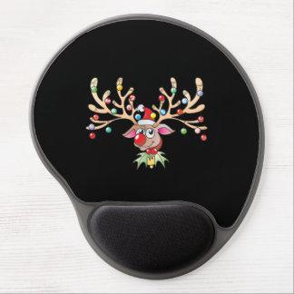 Cute Rudolf Reindeer with Christmas Lights Cards Gel Mouse Pad