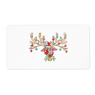 Cute Rudolf Reindeer with Christmas Lights Cards Label