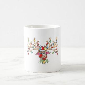 Cute Rudolf Reindeer with Christmas Lights Cards Mug